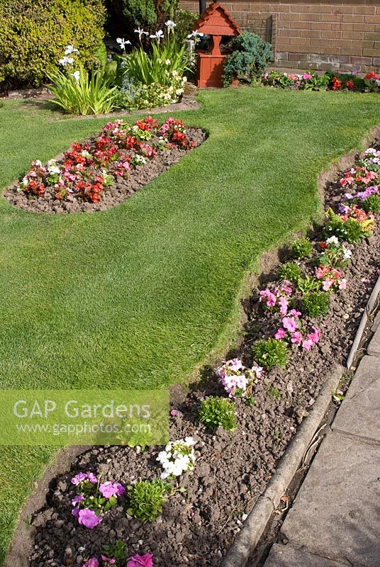Front Garden With Bedding Plants In Narrow Wavy Border Edging Lawn And In  Island Bed,