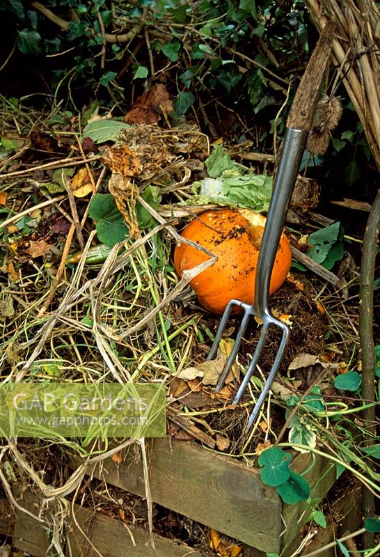 Compost heap with garden fork and pumpkin