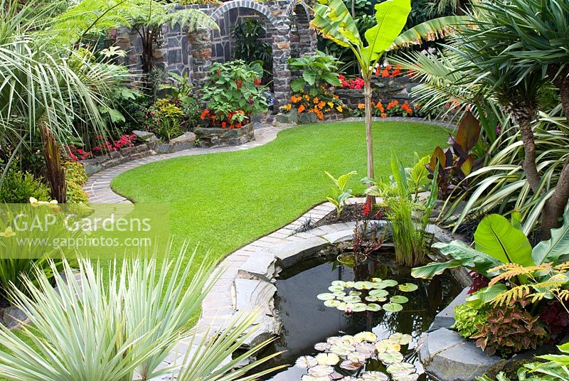 Suburban Lawn And Garden: Suburban Garden With Brick Edged Lawn And