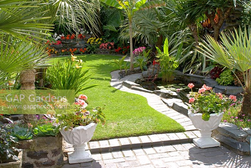 Suburban Lawn And Garden: Suburban Back Garden With Lawn And Pond
