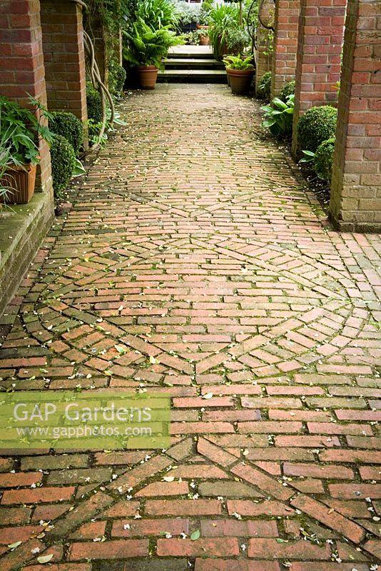 GAP Gardens - Detail of decorative brick paving under pergola ...