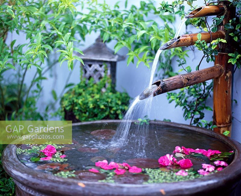 Gap Gardens Water Feature With Triple Bamboo Spouts And