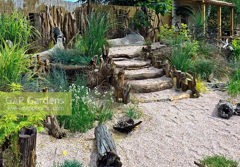 Beautiful Seaside Garden Planted With A Range Of Grasses, Driftwood Steps   HCFS