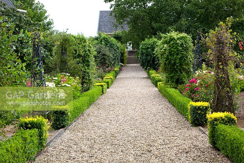Gravel Path In Formal Garden Edged By Low Buxus   Box Hedges