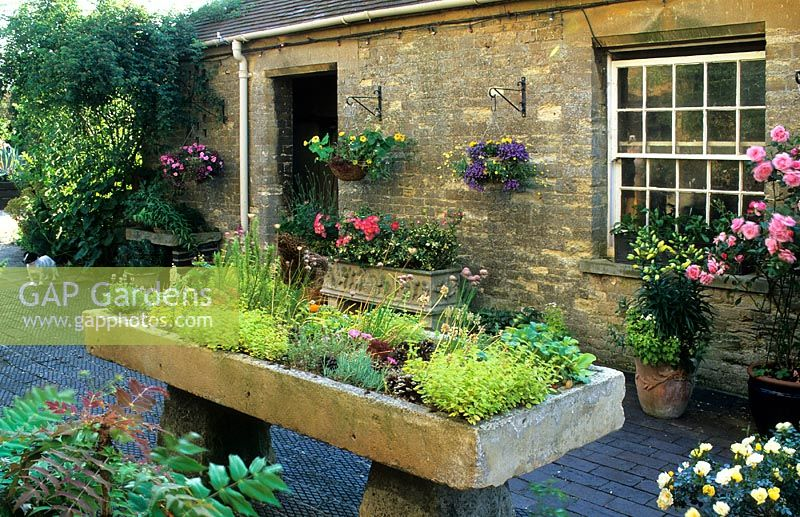 Gap Gardens Courtyard Garden With Antique Stone Sink Raised On