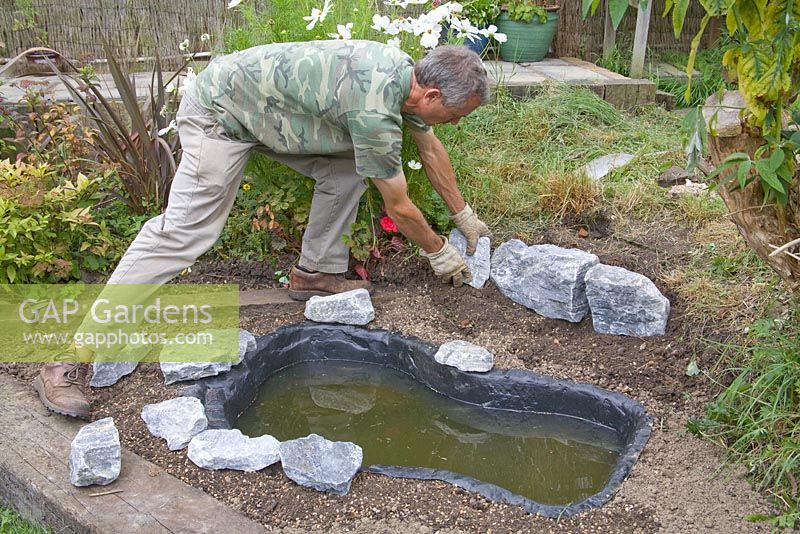 Gap gardens garden pond project step by step adding for Diy pond liner ideas