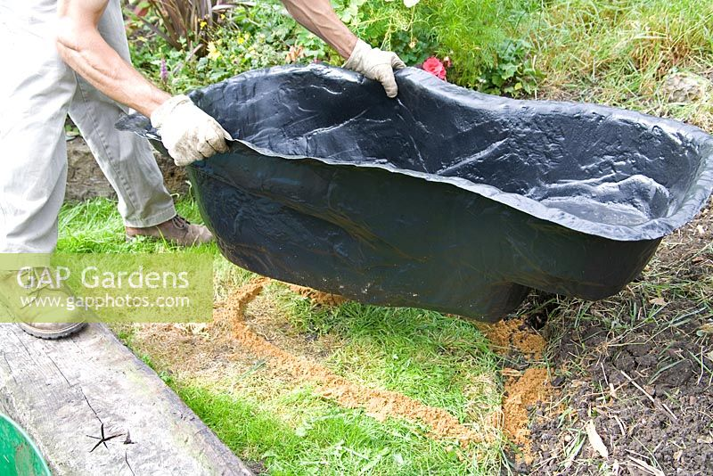 Gap gardens garden pond project step by step plastic for Garden pond moulds