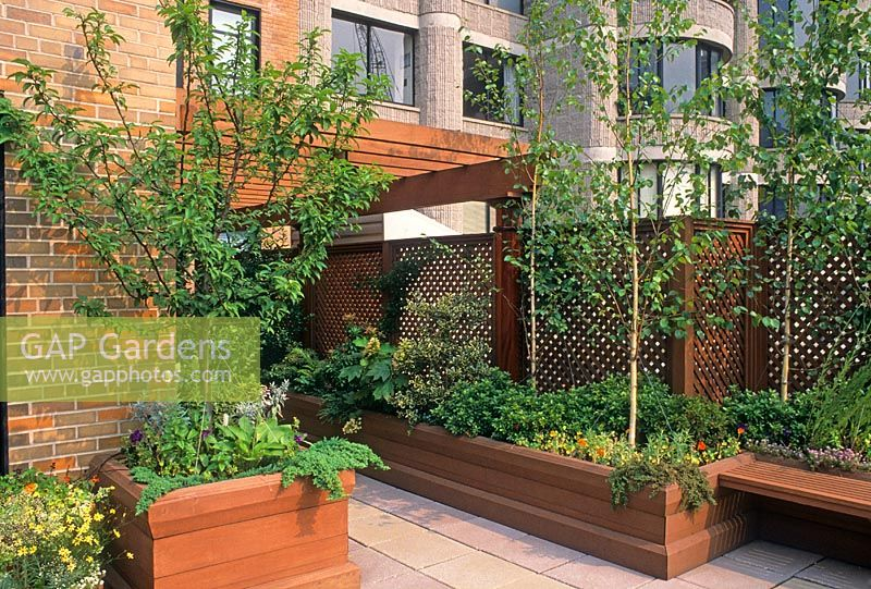 GAP Gardens Roof garden in New York Large wooden planter with