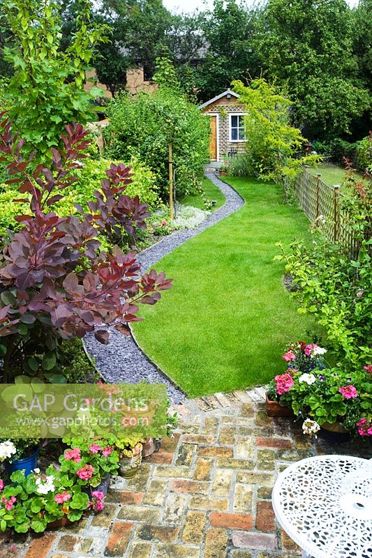 GAP Gardens - Elevated view of long, narrow town garden ... on Long Narrow Backyard Design Ideas id=33498
