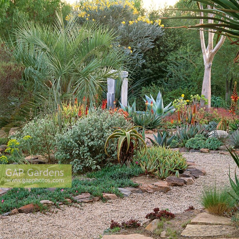 Gap gardens drought tolerant garden with gravel path in southern california image no for Gardens in southern california