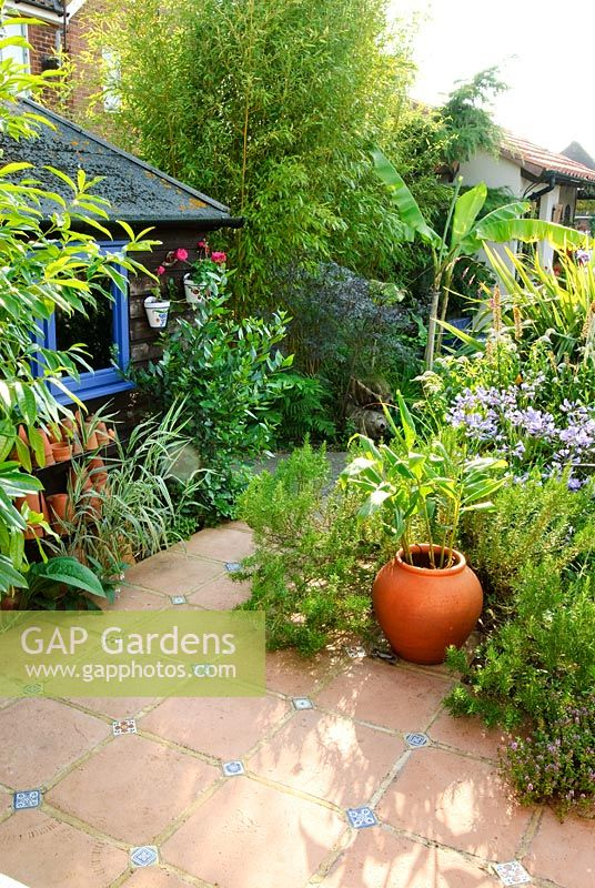 terracotta floor tiles with glazed tile inserts garden shed with old flower pots and blue