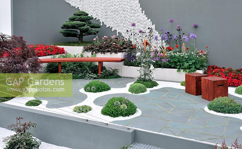 Contemporary Dry Water Garden Inspired By Japanese Zen Gardens That Represent Beautiful Scenery In Conceptual