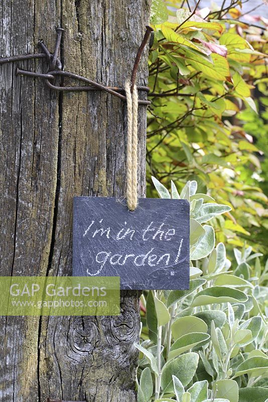 Slate sign on garden gate, reading 'I'm in the garden'