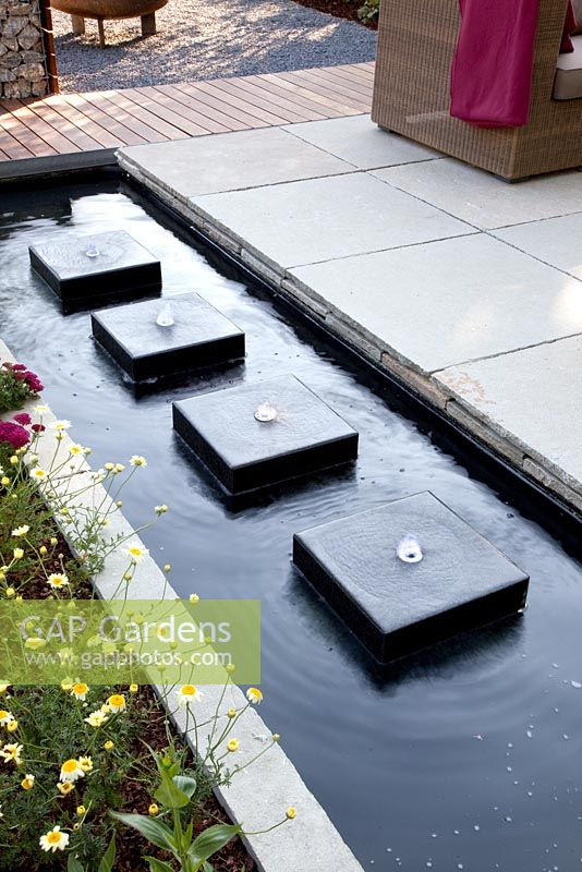 Gap Gardens Modern Rectangular Pond With Row Of Square Water Features Image No 0209109