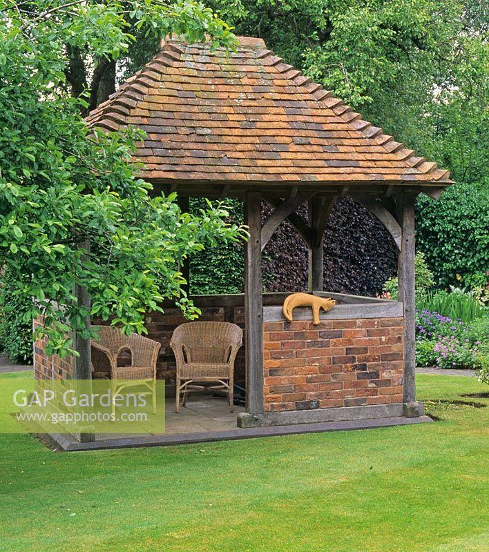 Gap gardens oak brick and tile built gazebo in mrs ann for Built in gazebo