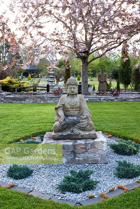 Buddha in newly planted Japanese garden