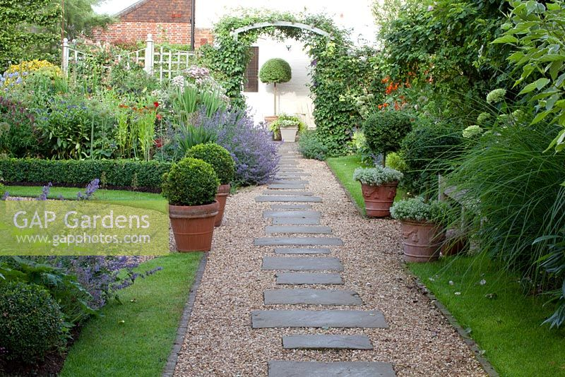 Gap Gardens Gravel And Paving Slab Path Through Small