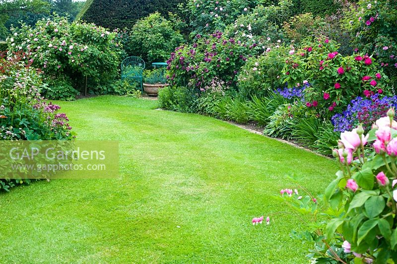Lawn and flowerbeds in a formal garden