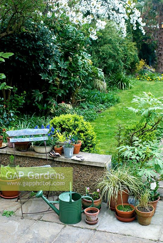 Garden view with containers