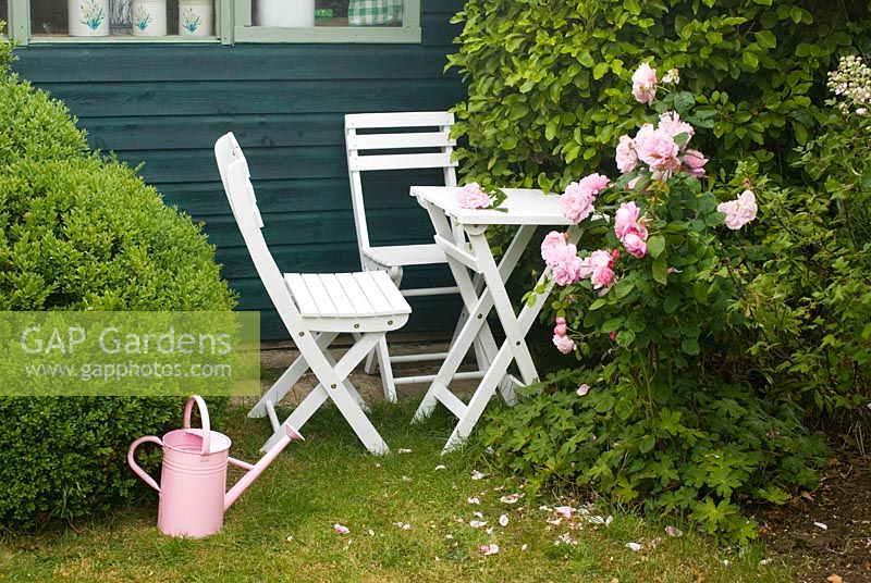 Patio set with Pink Rose and watering can