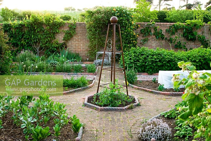 Walled Kitchen Garden With Gravel Paths Victorian Style Rope Edging To The Beds