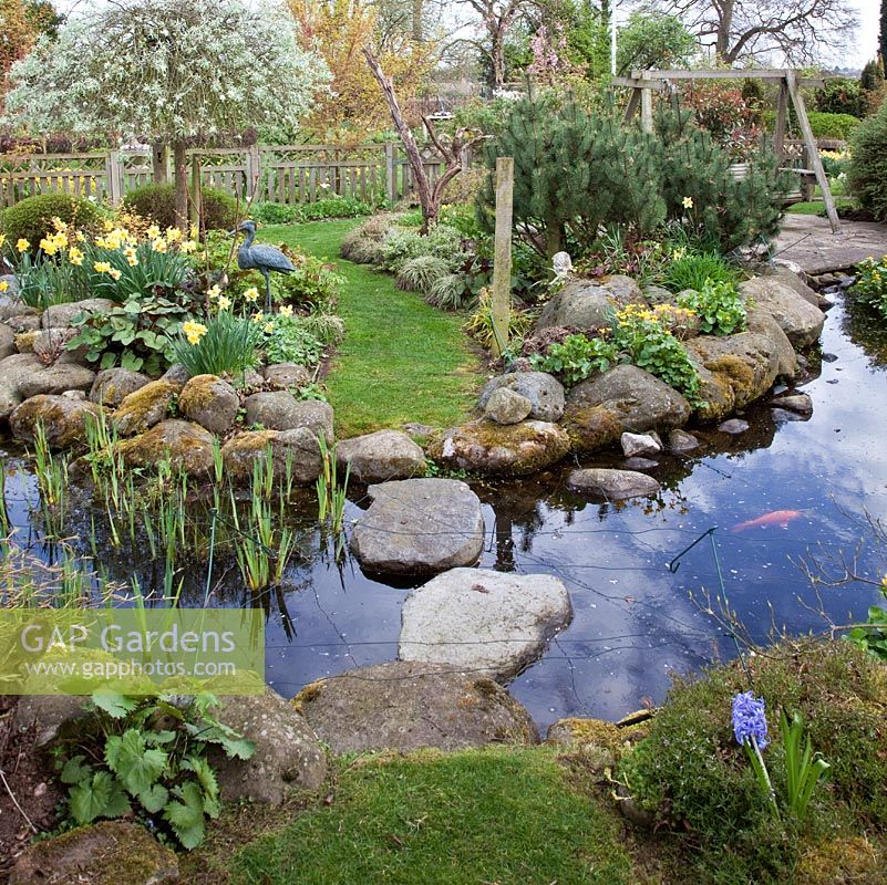 Gap gardens pond rockery pool with stepping stones in for Garden ponds uk