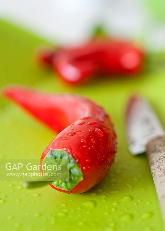 Chilli Pepper On Lime Green Chopping Board