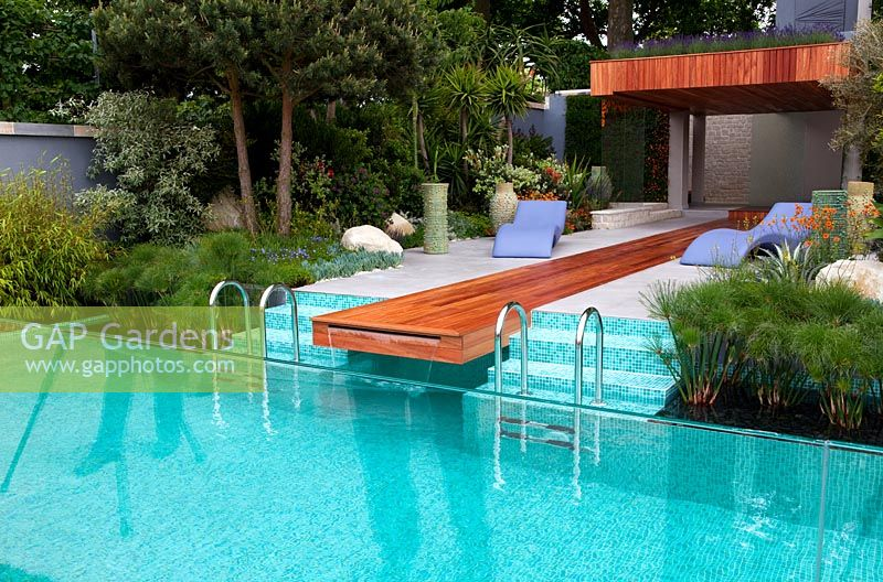Swimming pool in contemporary Mediterranean style garden - 'A Monaco Garden' - Gold Medal Winner, RHS Chelsea Flower Show 2011