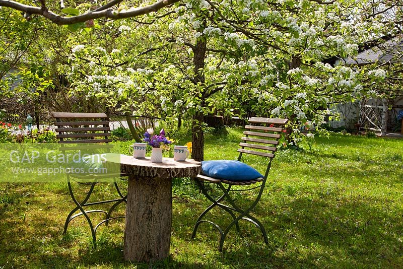 Gap gardens spring morning with garden chair next to for Domestica in svizzera