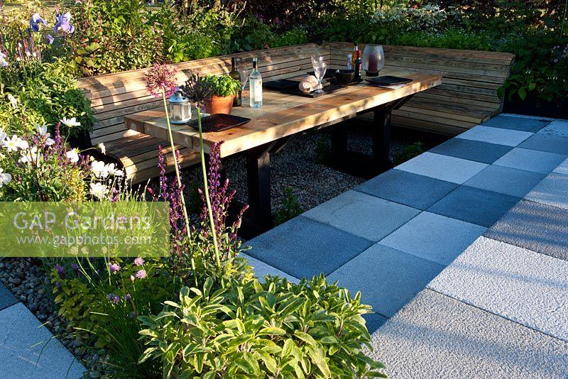 Magnificent Gap Gardens Wooden Table And Wrap Around Bench Inside Machost Co Dining Chair Design Ideas Machostcouk