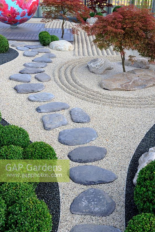 Stepping Stone Path In Japanese Style Garden