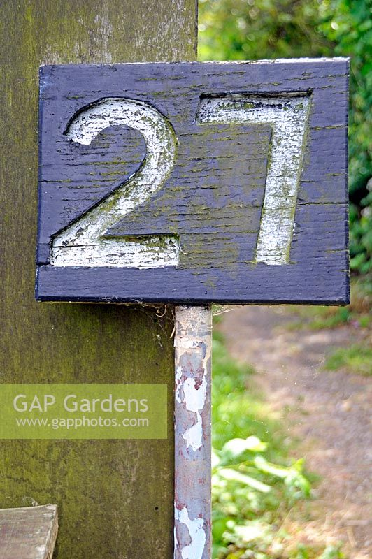 Sign for allotment plot number 27 - Alexandra Palace Allotments, London Borough of Haringey