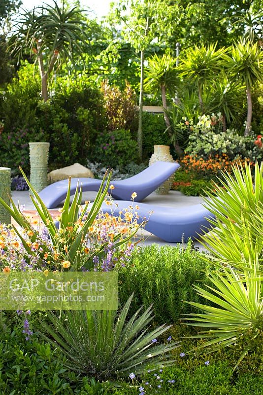 Mediterranean style garden with Aloe, rosemary and citrus tree - 'A Monaco garden', RHS Chelsea Flower Show 2011