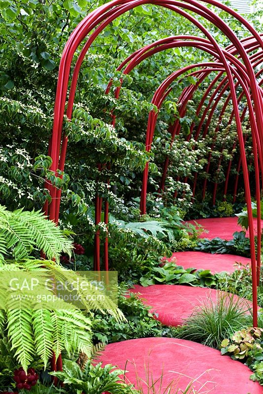 Red stepping stones - 'British Heart Foundation Garden', Silver Medal Winner, RHS Chelsea Flower Show 2011