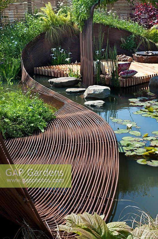 Gap Gardens Pond Garden With Centrepiece Ribbon Of Woven