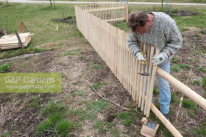 Man building a wooden picket fence