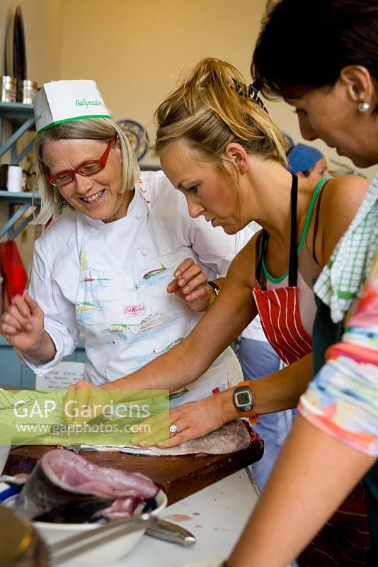 Darina Allen working with students in the classroom at Ballymaloe Cookery school