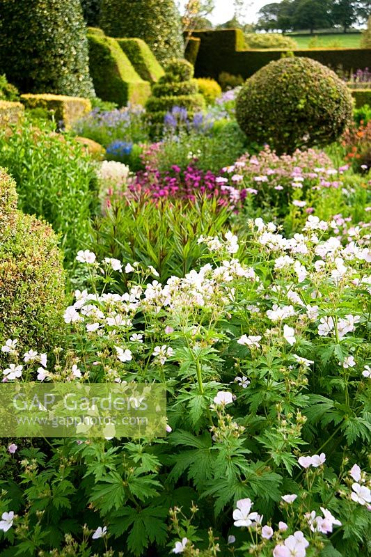 The Flower Garden Features Strong Blocks Of Box And Yew That Frame Cottage Plants