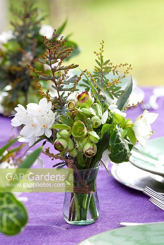 Gap Gardens Hand Tied Winter Flower Arrangements Used As Table
