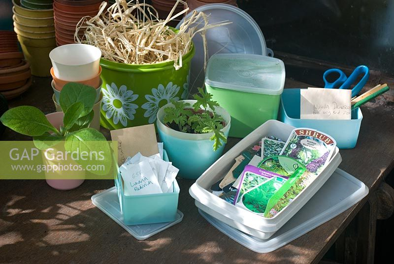 Vintage tupperware containers used in greenhouse