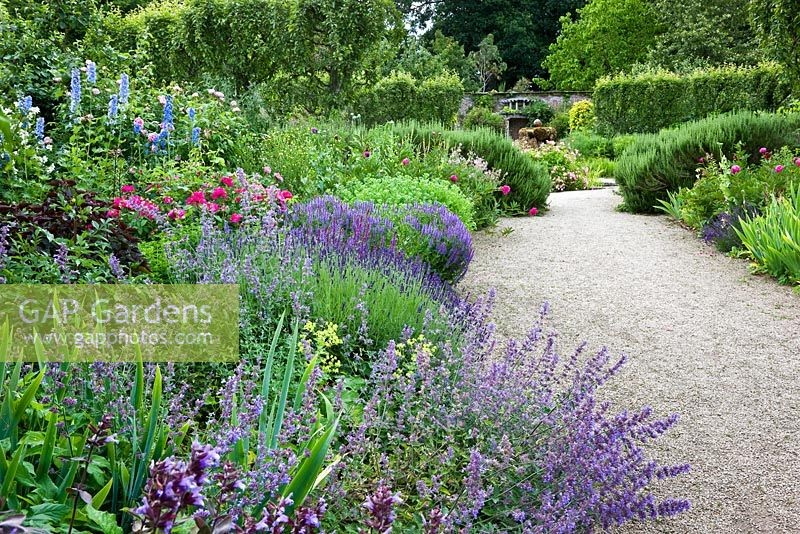 The Walled Garden with flowering plants, Highgrove Garden, June 2008.