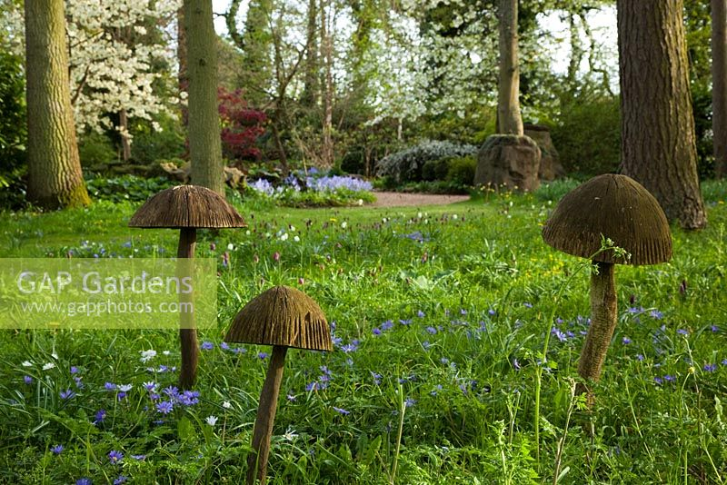 Toadstool sculptures in the Stumpery, Highgrove House, April 2010
