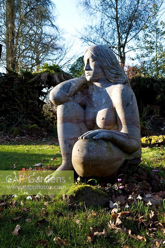 'Goddess of the Woods' sculpture in the Stumpery, Highgrove Garden, February 2011.