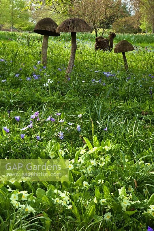 Wooden toadstool sculpture and spring flowers in the Stumpery, April 2010.