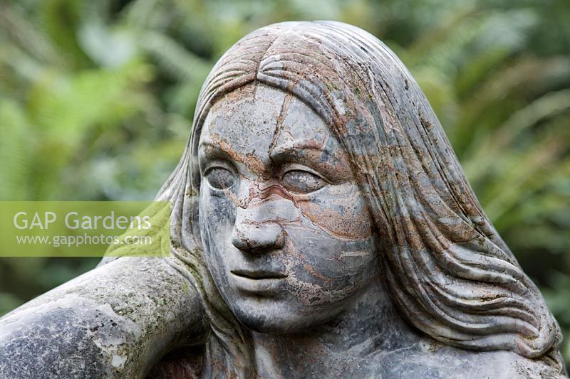 Sculpture of a Wood Nymph (Goddess of the Woods) in the Stumpery, Highgrove Garden, 2007.