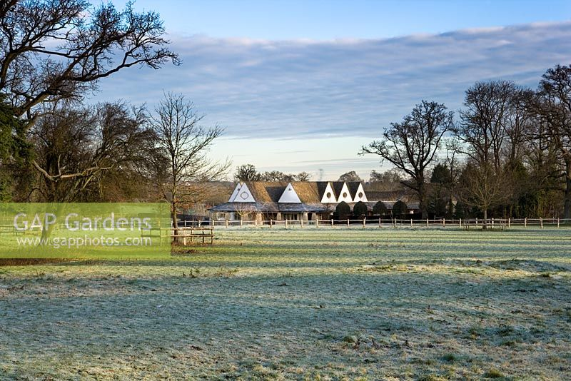 The Orchard Room in a frosty landscape, Highgrove December 2008.