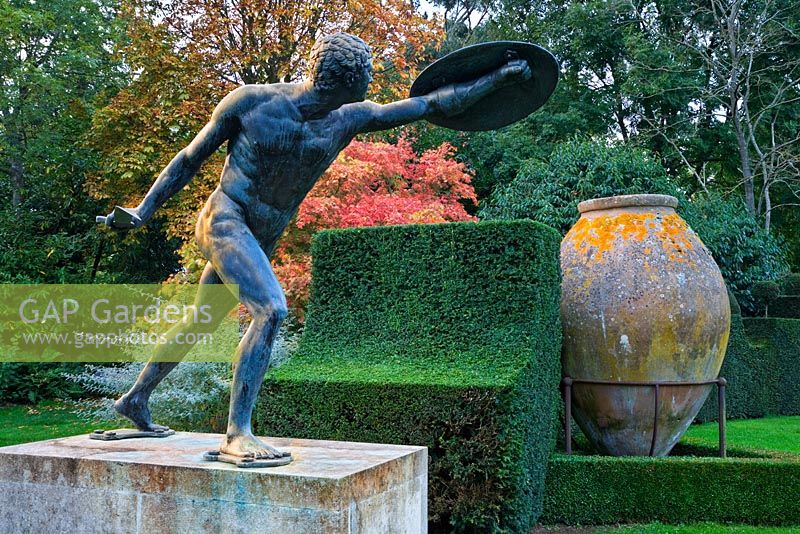 Bronze Borghese Gladiator and large Spanish Sherry Jar near the Meditteranean Garden, Highgrove, October 2007.
