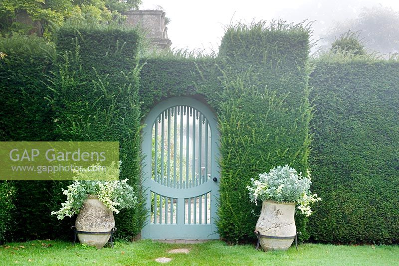 Gateway to Sundial Garden with yew hedge and two planted pots. Highgrove Garden October 2007.