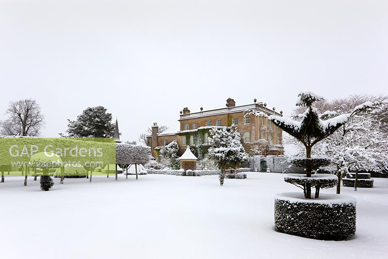 Oblique view of the west front at Highgrove, covered in snow, January 2010.