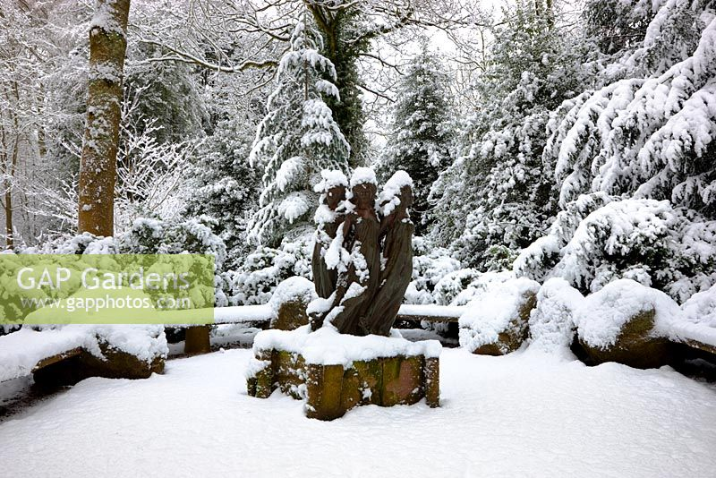 The Daughters of Odessa sculpture, covered in snow, Highgrove Garden, January 2010.